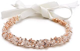Mariell Blush Rose Gold Crystal Cluster Bridal Wedding Headband Hair Vine with Ribbon