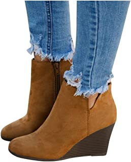 Women Suede Side Zipper Wedges Shoes High Heel Round Toe Ankle Short Boots