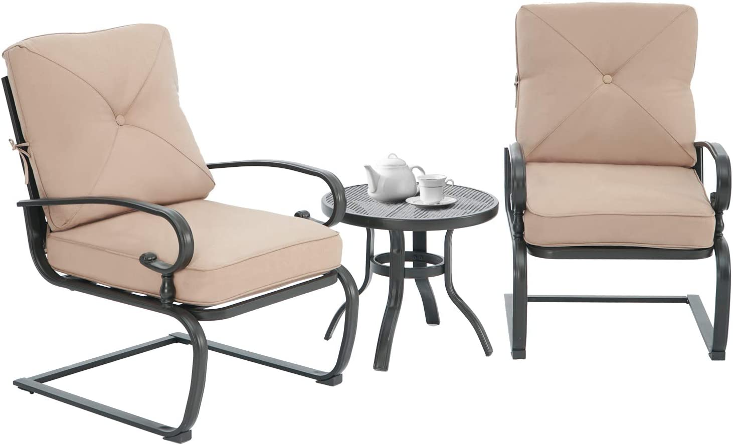 Patiomore 3 Piece Patio Bistro Set Ranking TOP4 Chairs and OFFicial mail order Metal Bistr Spring