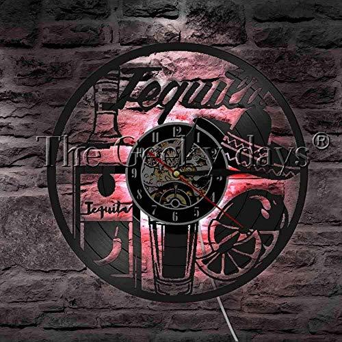 Tequila Drankjes LED Wandlamp Vinyl Record Wandklok met LED Achtergrondverlichting Bar Pub Tequila Wijn Bier Home Decor