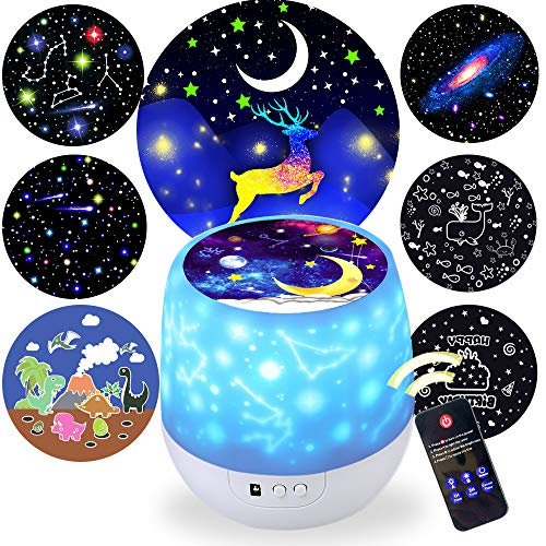 Kids Night Light Projector,Remote Control Star Light Projector with LED Timer and USB Cable, 360 Degree Rotation Kid Night Light Lamp Bedroom Best Gifts for Kids,7 Set of Films