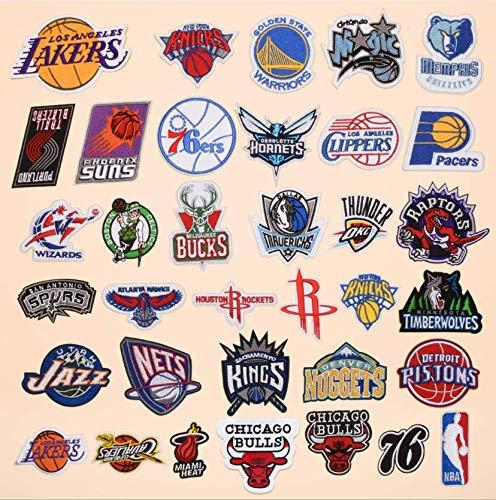 Parches para planchar/Patch Sticker,Se usa para decorar o reparar jeans,chaquetas,mochilas y zapatos de camisetas, fanáticos del logo de baloncesto 35PCS