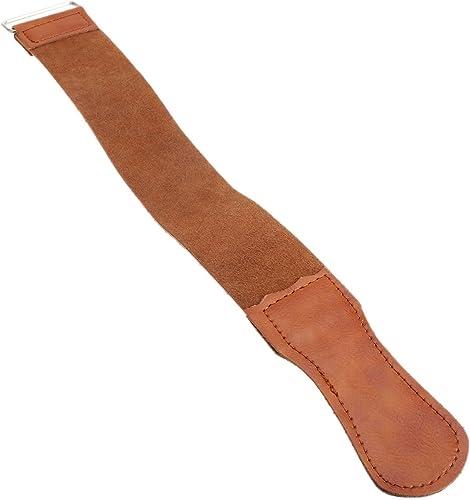 Dophee 1Pc Men's Barber Shaving Genuine Leather Strop Straight Razor Sharpener Strap Belt