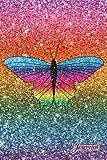 Journal: Faux rainbow glitter rainbow glitter butterfly notebook