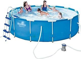 Enmarcar Piscina Grande Multi-Persona de Soporte de Piscina sobre el Suelo Abierto Piscina for niños Parque acuático Infantil filtra la Calidad del Agua (Color : Blue, Size : 457 * 122cm)