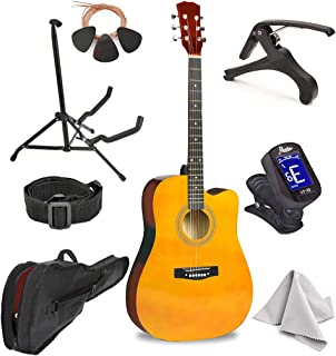 """Sponsored Ad - Master-play Beginner Full Size 41"""" Wood Cutaway All String Acoustic Guitar, With Accessories Kit, Case, Str..."""