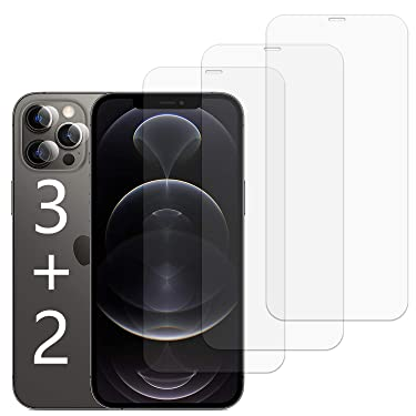 Aqualief Screen Protector Compatible with iPhone 12 Pro Max 6.7 inch,3 Pack Tempered Glass Screen Protector Anti-Scratch Bubble Free Case-Friendly,2pcs Lens Soft Tempered Film
