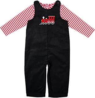 Newborn/Infant Black Corduroy Train Appliqued Overall Set with Red and White Knit Bodysuit