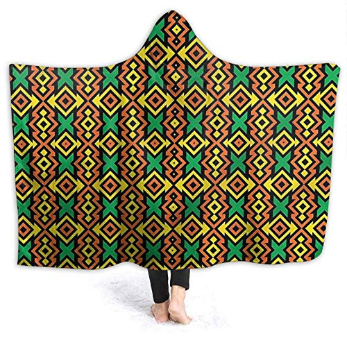 OLGCZM Kente Pattern Super Soft Light Weight Throw Wearable Hooded Blanket Sherpa Fleece Summer Quilt for Bed Couch Sofa
