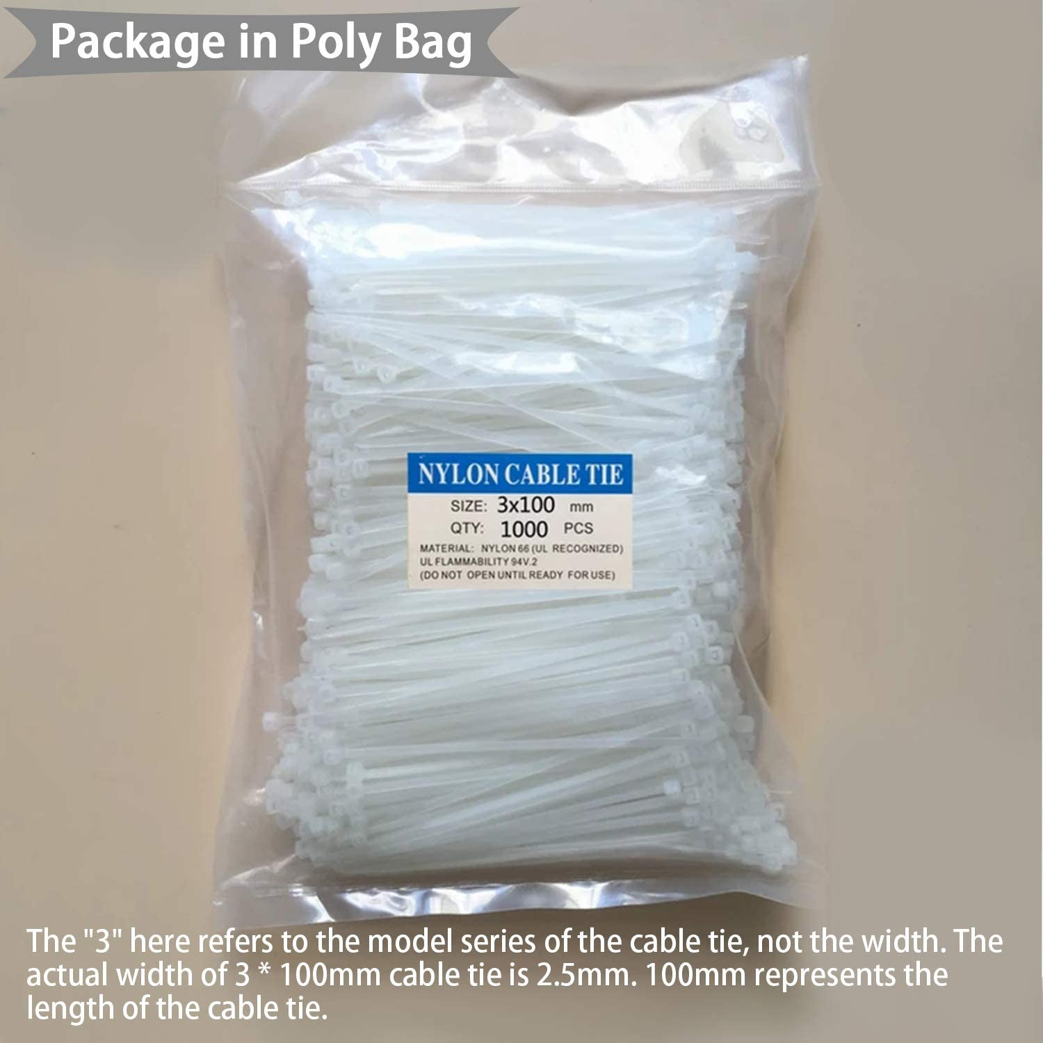 ECRAB Clear Zip Ties 4 Inch 200 Pack in Black /& White 18lb Self Locking Cable Ties Small Tie Straps