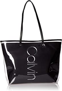 Calvin Klein Mallory Clear PU East/West Vertical Branding Tote