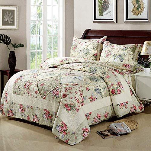 Colcha de retazos, tamaño king, edredón acolchado, juego de 3 piezas, 100% algodón, flores, ropa de cama, manta multifunción, manta de cuatro estaciones, cubierta de cama, 230 x 250 cm con 2 fundas de