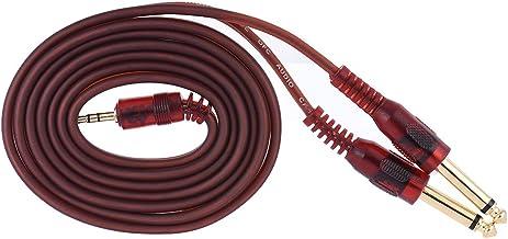 """KKmoon 1.5 m / 5ft fio do cabo de áudio estéreo de 3.5mm 1/8""""macho para dual 6.35mm 1/4"""" ts macho plugue para computador m..."""