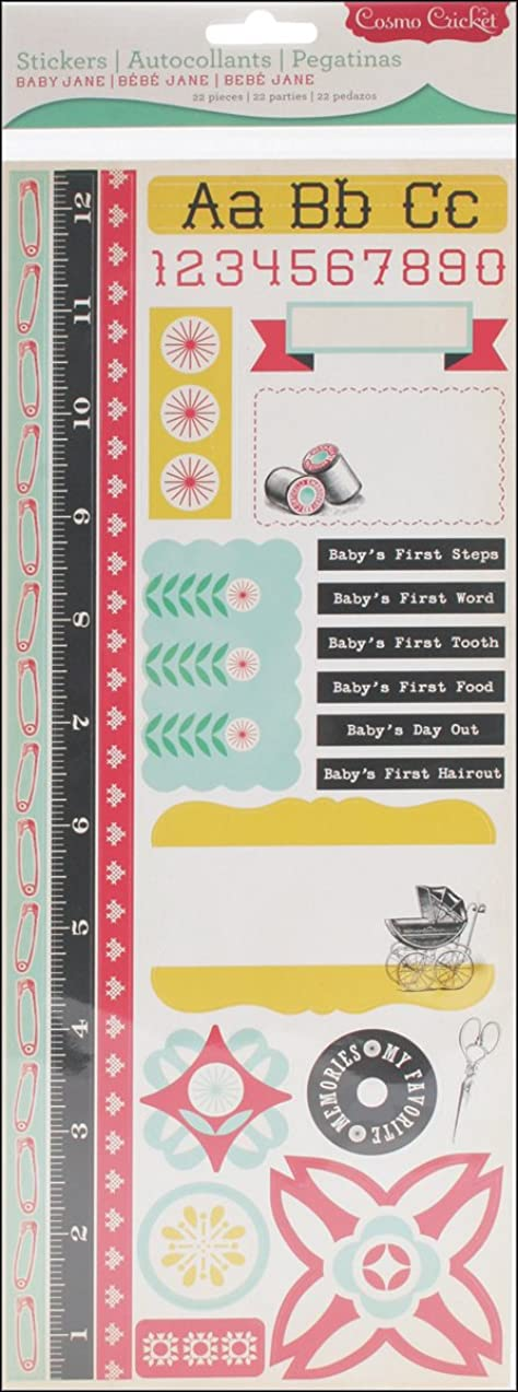 Advantus COS68095 Cosmo Cricket Baby Jane Design Sticker Sheet, Set of 22 Cardstock Stickers
