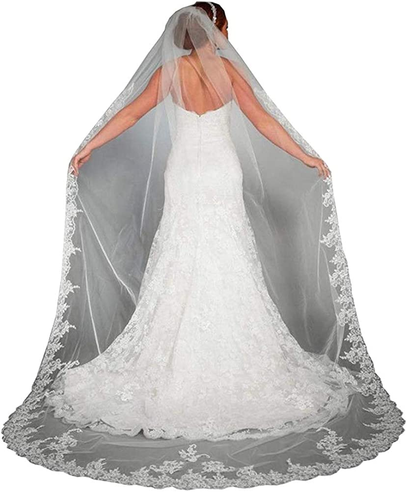 Fenghuavip 1T White Tulle Brides Wedding Veils Chapel Long with Comb