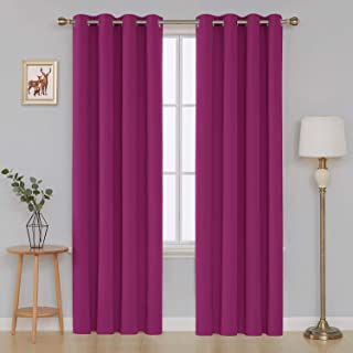 Deconovo Thermal Insulated Grommet Top Window Panel Fushcia for Bedroom Blackout Curtain, 52x95 Inch, Fuchsia