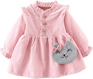 Fairy-Baby Toddler Girls Long Sleeve Corduroy Dress with Adorable Kitty Satchel Babies Autumn Playwear