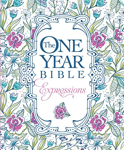 The One Year Bible Expressions (Softcover, Blue Flowers)
