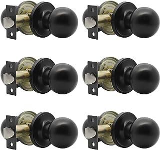Probrico Passage Door Knobs Handle for Hall or Closet Round Interior Door Knobs Lock, 6 Pack