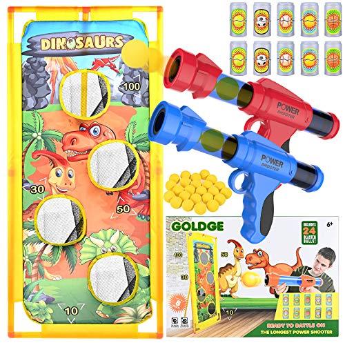 GOLDGE Zielscheiben-Spielzeug, 37 Teile, Blaster, Spielzeug-Set mit 2 Spielzeugpistole, 1 Zielscheibe, 24 Schaumstoffkugeln, 10 Dosen, Outdoor-Spiel für Jungen und Mädchen