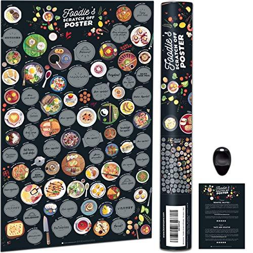 Bonanzana - Feinschmecker Foodie's Rubbel-Poster, Geschenk zum Freirubbeln, Schlemmer Bucket List, Kulinarische Spezialitäten aus Aller Welt, 70x42cm