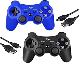 PS3 Controller Wireless Joystick Game Controller 2 Pack with Dual Shock and Free Charger Cable Compatible with Playstation 3 PS3 (Black+Blue)