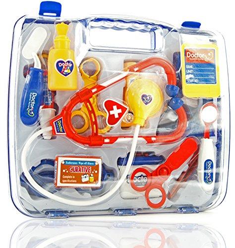 Arzt-Koffer Arzt-Set Kinder-Spielzeug 14 Teile Arzt-Kostüm Puppen-Doktor Fasching Karneval Kunststoff Schadstoff geprüft 27 cm