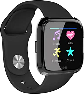 Wareon Replacement Bands Compatible with Fitbit Versa/Versa 2 /Versa Lite Edition, Breathble Soft Silicone Strap Replacement Wristband Smart Fitness Watch Accessories [Large-Black]