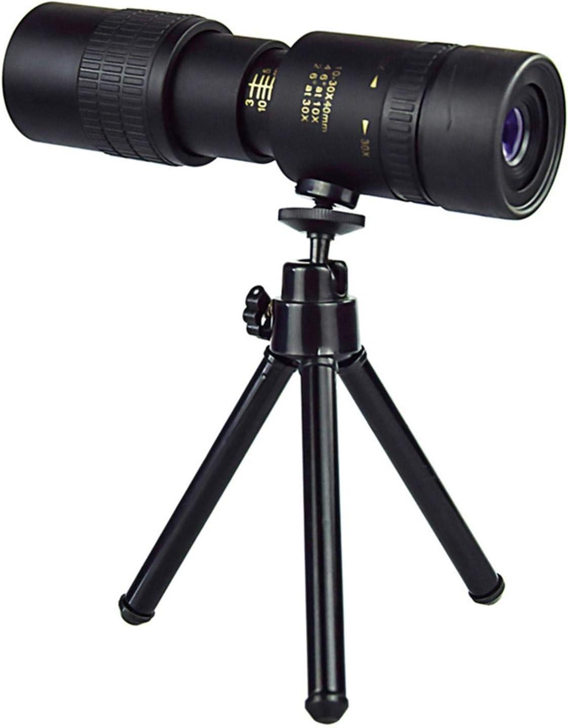 monocular de visi/ón nocturna impermeable a prueba de niebla con soporte para tel/éfono inteligente y tr/ípode para viajes senderismo Telescopio monocular con zoom s/úper teleobjetivo 4K 10-300X40 mm