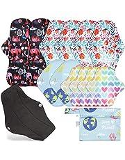 Rovtop 12 stuks menstruatiekussens herbruikbare maandverbanden met 4 maten inlegkruisjes voor dames