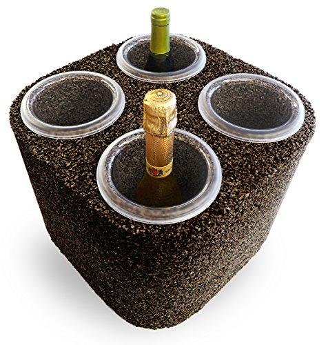 Greencorks, L' Eco FRIGO da 4 Bottiglie della Collezione GLACETTE. Porta Ghiaccio e Bottiglie di Vino refrigerante in Sughero Naturale, Colore Biondo. Base di 34 X 34 cm e Altezza di 27 cm.