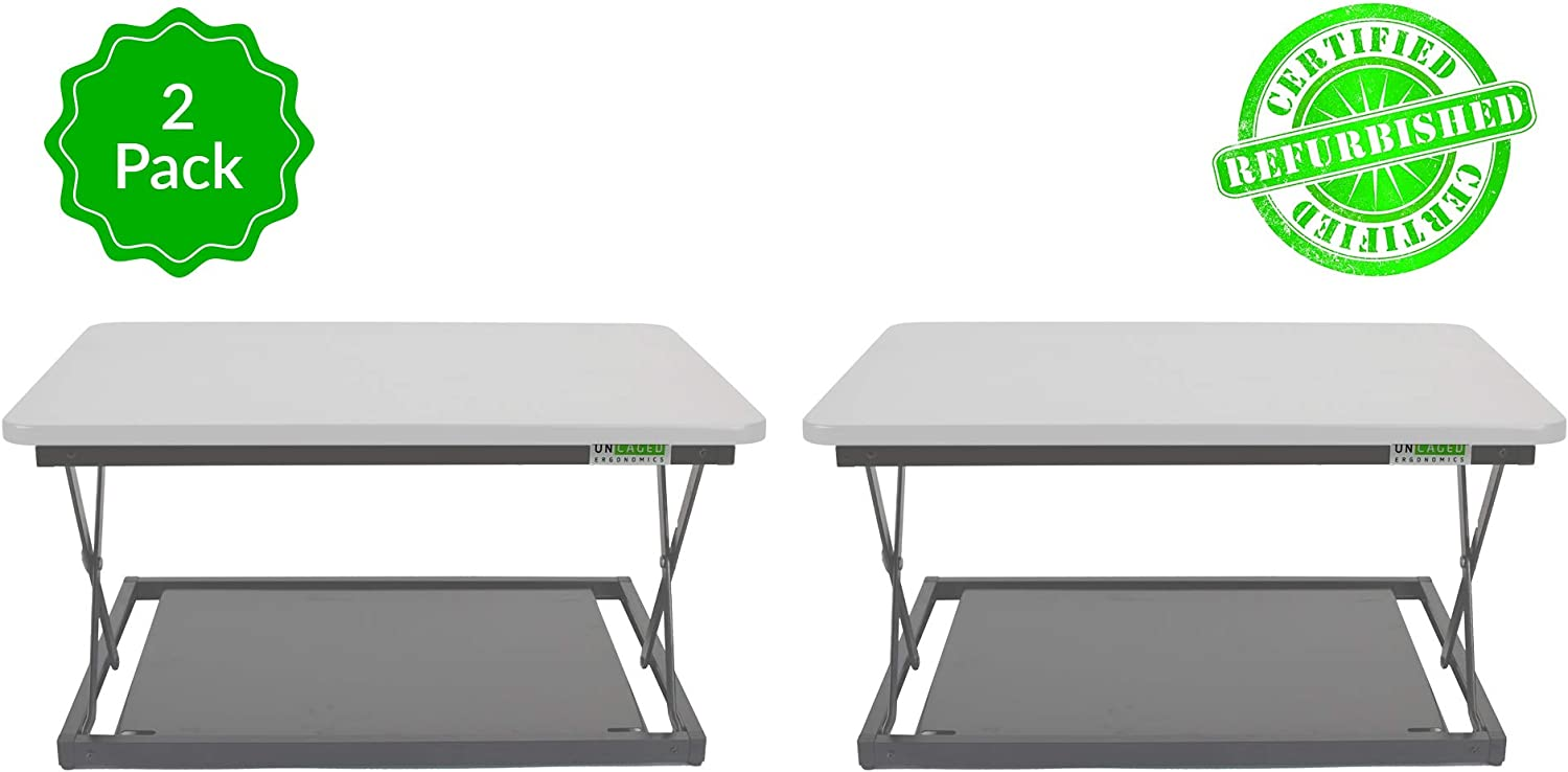 CHANGEdesk Mini - Affordable Height Adjustable Stand Up Desk Conversion and Laptop Standing Desk Converter (2 Pack | White)