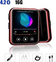 """$39 Get MP3 Player with Clip, Fizzo Portable Sports 16GB MP3 Player with Bluetooth 4.2, HiFi Sound Quality Music Player with FM Radio, Recorder and E-Book, 1.5"""" Full Touch Screen Mini MP3 Player for Sports"""
