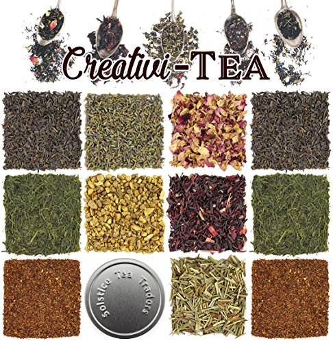 Loose Leaf Tea Sampler Gift Set Assortment — Create Your Own Tea Blend Starter Kit w/ Sencha, Rooibos, China Black, & Ginger, Lavender, Rose, Lemongrass, Hibiscus Spices Approx 75+ Cups