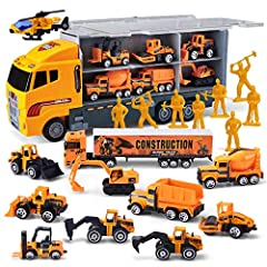 SUPER VALUE. 11 Mini Construction Truck Toy Set in Different Designs and Functions in One Carrier Truck. Including Helicopter, Wheel Loader, Dump Truck, Bulldozer, Excavator, Mixer, Backhoe, Road Roller, and so on. IDEAL For Kids Playing Construction...
