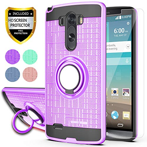 LG G3 Phone Case with HD Phone Screen Protector,Ymhxcy 360 Degree Rotating Ring & Bracket Dual Layer Resistant Back Cover for LG G3 2014-ZH Purple