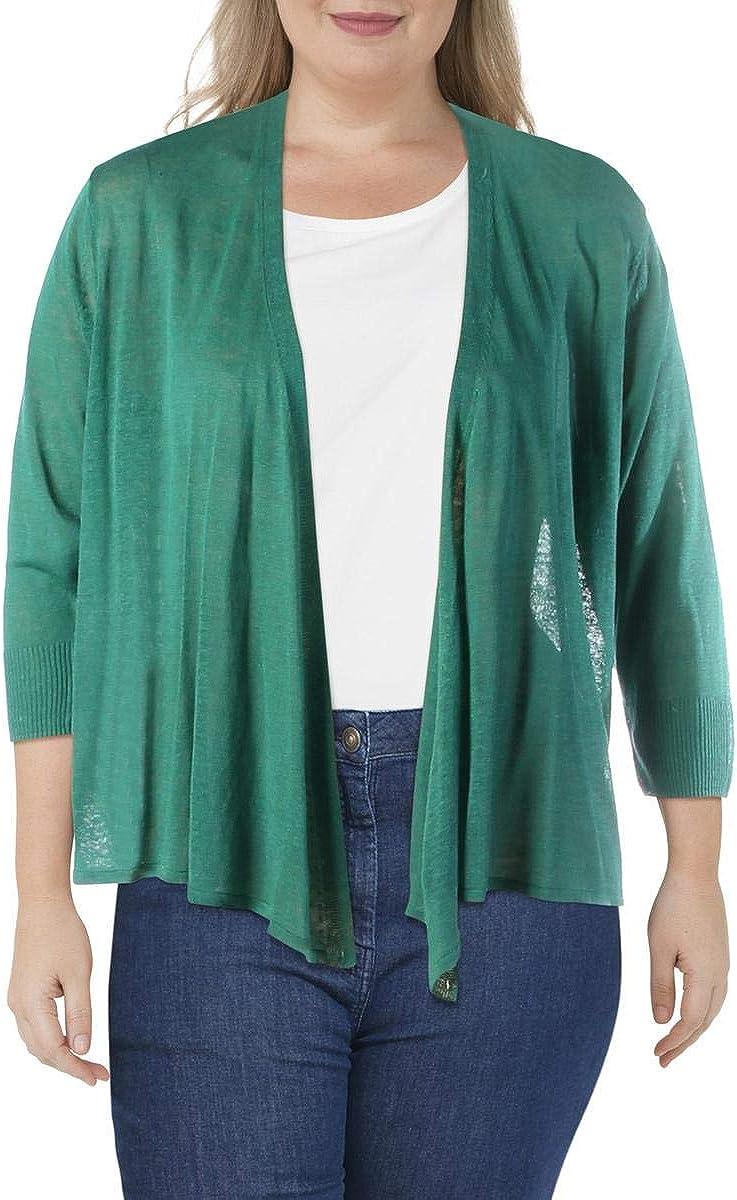 NIC+ZOE Women's Plus Size 4 Way Sheer Linen Blend Cropped Cardigan