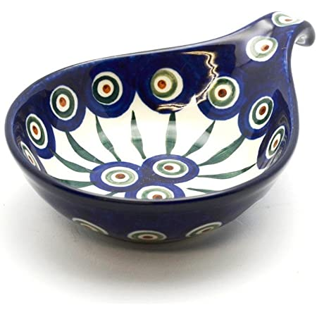 Polish Pottery Spoon Ladle Rest Peacock Kitchen Dining