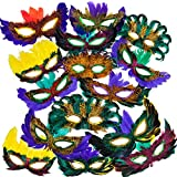 ArtCreativity Assorted Feather Mardi Gras Masks, Bulk Pack of 25, Feathered Masquerade Mardi Gras Party Favors, Supplies, and Decorations, Masquerade Costume Party Accessories for Kids and Adults