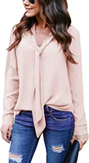Women's Cuffed Long Sleeve Casual V Neck Chiffon Blouses Tops with Tie