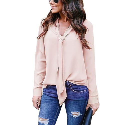 4465fb74900 Yidarton Women V Neck Chiffon Long Sleeve Solid Color Casual Tops Shirts  Blouse