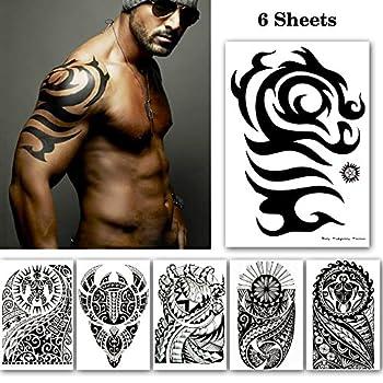 Black Large Temporary Tattoos Big Tribal Totem Tattoo Sticker for Men Women Body Art Makeup Fake Tattoo Waterproof Removable 6-Sheet