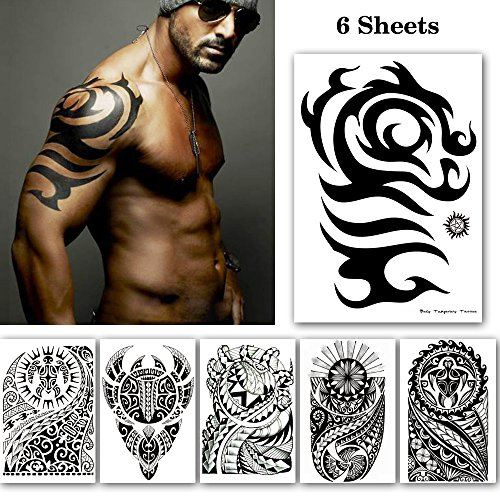 Leoars Black Large Temporary Tattoos, Big Tribal Totem Tattoo Sticker for Men Women Body Art Makeup, Fake Tattoo Waterproof Removable, 6-Sheet