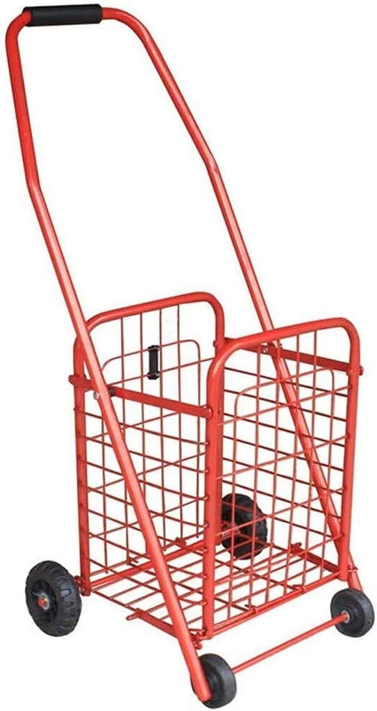 KFDQ Old Person Shopping Trolleys,Climbing Shopping Cart Loading Cart Small Cart Luggage Trolley Folding Cart Trailer Trolley Home Portable,F