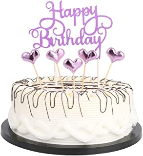 Purple Happy Birthday Cake Toppers letters