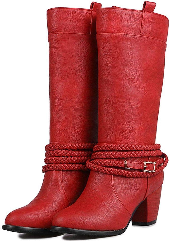 DoraTasia Fashion Women's Retro Braid Buckle Pull-On Mid Heel Mid-Calf Cowboy Western Boots Wide Calf