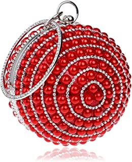 Redland Art Women's Fashion Mini Pearl Beaded Round Clutch Bag Wristlet Evening Handbag Catching Purse for Wedding Party (Color : Red)