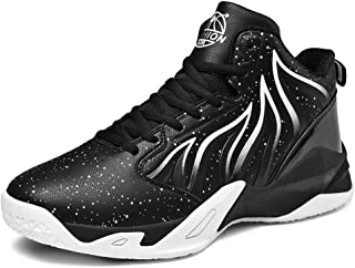 Basketball Shoes, Unisex Performance Shock Absorption Basketball Boots Trainer Sneakers High Top Tennis Shoes Running Shoes for Boys Girls,Black&white,48