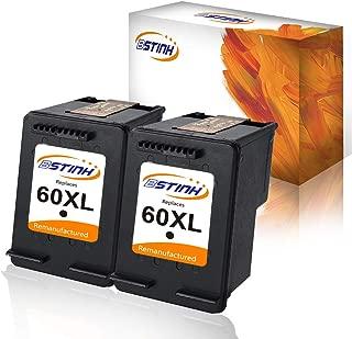 BSTINK Remanufactured Ink Cartridge Replacement for HP 60XL 60 XL High Yield D8J61BN CC641WN CC644WN Compatible with HP Photosmart C4680 D110, Deskjet D2680 F2430 F4210 Printer, 2 Black