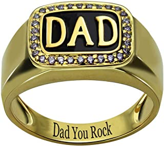 RESVIVI Sterling Silver Customized DAD Rings with Birthstones Personalized Engraving Inscription Father's Day Ring Gift